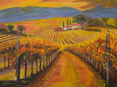 California Vineyard Painting - Fall Vineyards  by Eric Johansen