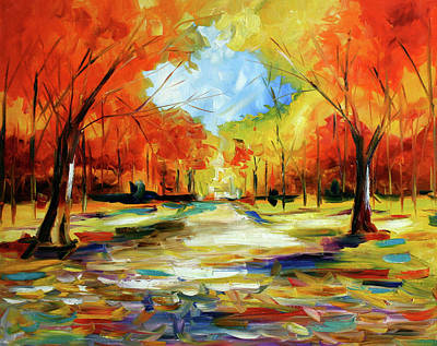 Pace Painting - Fall Walk In The Trees by Laurie Pace