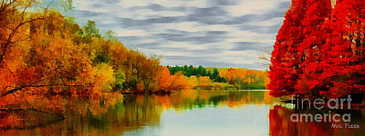Fall Water Painterly Rendering Art Print