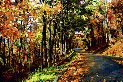 Digital Art - Fall Winding Road  by Kevin Cable