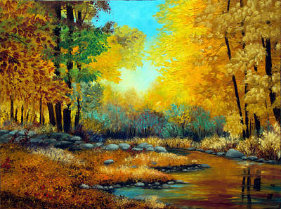 Maine Painting - Fall Woods Stream  by Laura Tasheiko