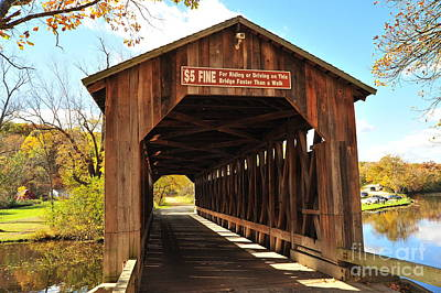 Fallen Leaves Photograph - Fallasburg Covered Bridge 12 by Terri Gostola