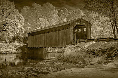 Flat River Fallasburg Bridge Photograph - Fallasburg Covered Bridge In Infrared And Sepia by Randall Nyhof