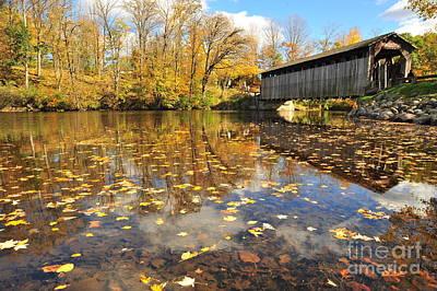 Autumn Landscape Photograph - Fallasburg Covered Bridge by Terri Gostola