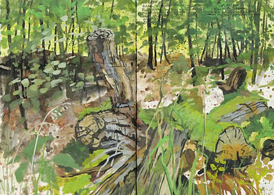 Painting - Falle Tree Trunks And Moss,forest Diary by Martin Stankewitz