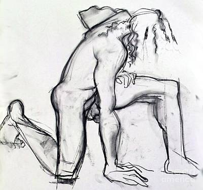 Mixed Media - Fallen Angel - Male Nude Charcoal Drawing by Carolyn Weltman