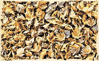 Digital Art - Fallen Autumn Leaves by Cameron Wood