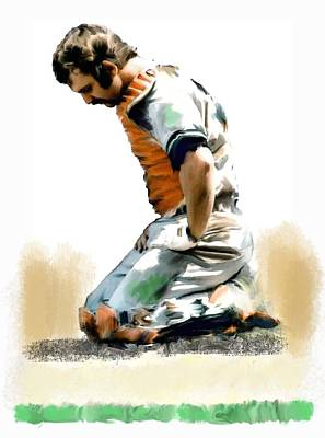 Painting - Fallen Captain Ix Thurman Munson by Iconic Images Art Gallery David Pucciarelli