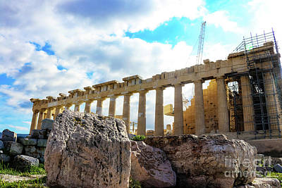 Photograph - Fallen Columns In Front Of The Parthenon On The Athens Greece Acropolis by Susan Vineyard