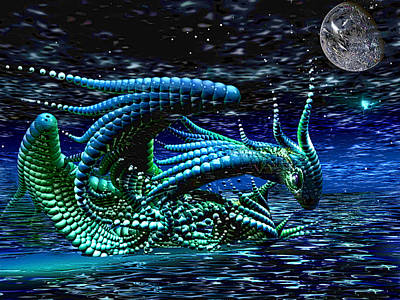 Newts Digital Art - Fallen Dragon... The Sequel by Phil Sadler