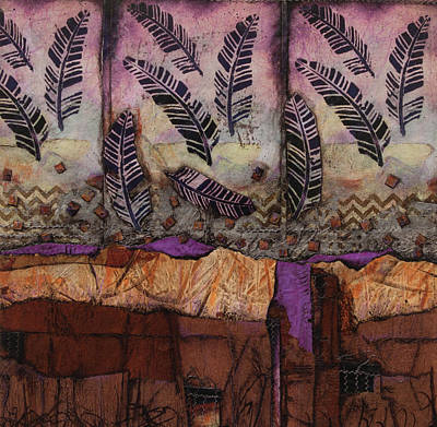 Purple Mixed Media - Fallen Feathers  by Laura Lein-Svencner