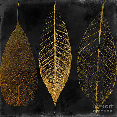 Flower Wall Art - Painting - Fallen Gold II Autumn Leaves by Mindy Sommers