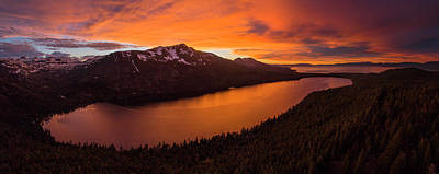 Photograph - Fallen Leaf Lake Sunset Aerial By Brad Scott by Brad Scott