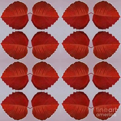 Digital Art - Fallen Leaves Arrangement In True Red by Helena Tiainen