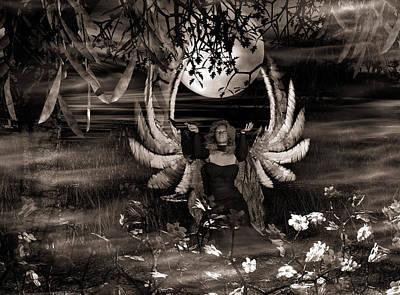 Fae Art Mixed Media - Fallen-sepia Toning by Eva Thomas