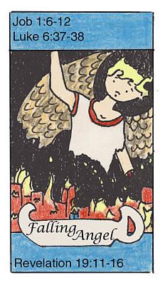 Revelation Drawing - Falling Angel by Chayla Dion Amundsen-Noland