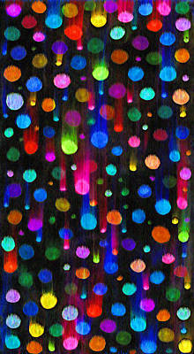 Falling Balls Of Color Art Print by Carl Deaville