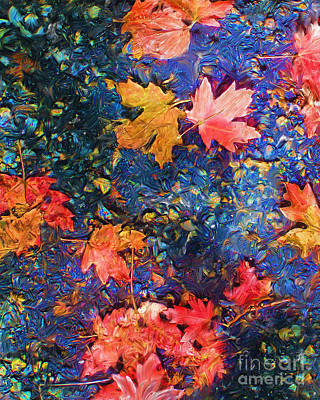 Asheville Mixed Media - Falling Blue Leave by Marilyn Sholin