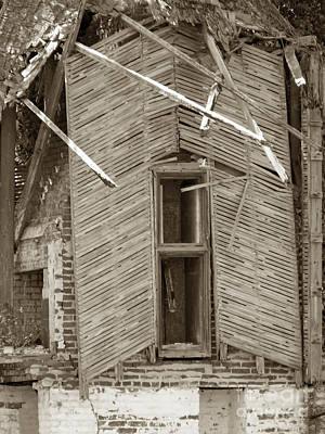 Photograph - Falling Down Around The Window Sepia by D Hackett