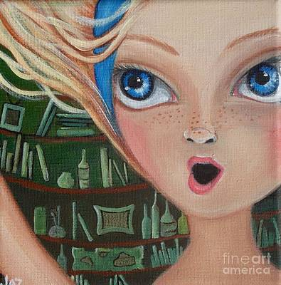 Pop Surrealism Painting - Falling Down The Rabbit Hole By Jaz by Jaz Higgins