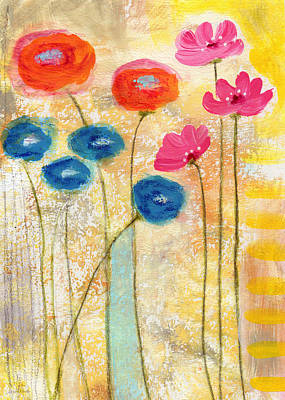 Abstract Expressionist Painting - Falling For You- Floral Art By Linda Woods by Linda Woods