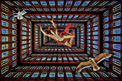 Digital Art - Falling From Infinity by John Haldane