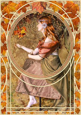 1920s Flapper Girl - Falling Leaves by John Edwards