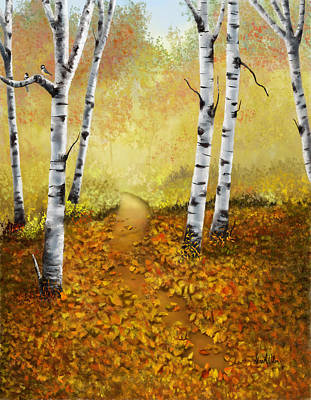 Art Print featuring the painting Falling Leaves by Sena Wilson