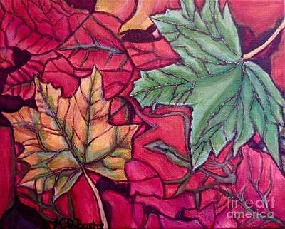Art Print featuring the painting Falling Leaves Two Painting by Kimberlee Baxter