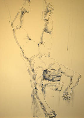 Male Nude Drawing Drawing - Falling by Robert Spannring