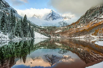 Photograph - Falling Skies - Maroon Bells - Aspen Colorado by Gregory Ballos