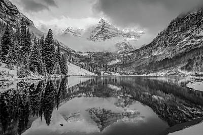 Photograph - Falling Skies - Maroon Bells In Black And White - Aspen Colorado by Gregory Ballos