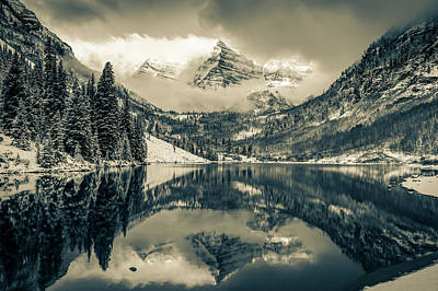 Photograph - Falling Skies - Maroon Bells In Sepia - Aspen Colorado by Gregory Ballos