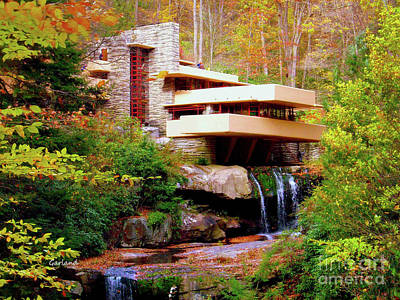Impasto Mixed Media - Falling Water By Frank L. Wright. by Garland Johnson