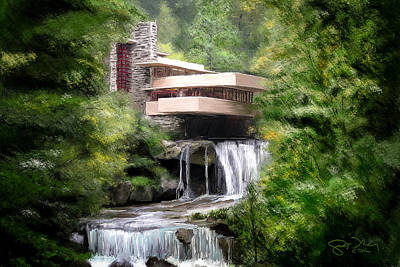 Scott Melby Painting - Fallingwater - Frank Lloyd Wright by Scott Melby