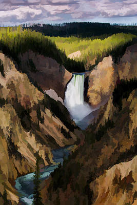 Yellowstone Wall Art - Digital Art - Falling Yellowstone  Iv by Jon Glaser