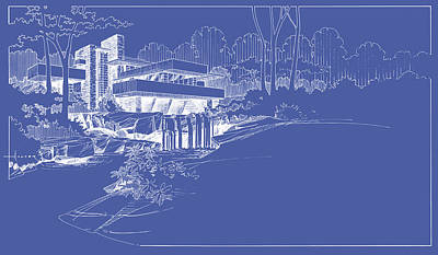 Drawing - Fallingwater Blueprint Reverse by Larry Hunter