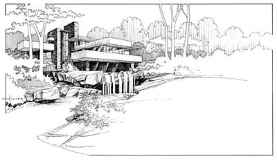 Drawing - Fallingwater by Larry Hunter