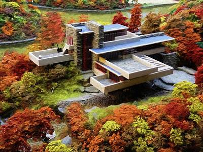 Painting - Fallingwater Architecture Drawing by Louis Ferreira