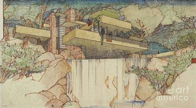 Fallingwater Pen And Ink Art Print