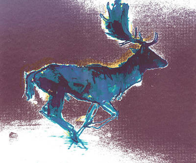 Reindeer Painting - Fallow Buck by Mark Adlington