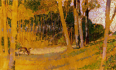 Painting - Fallow Deer At The Glade by Attila Meszlenyi