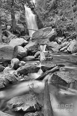 Photograph - Falls Creek Falls Over The Logs Black And White by Adam Jewell