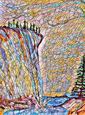 Falls From Clouds Falls - Stained Glass Art Print