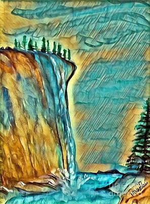 Falls From Clouds Falls - Sunset Glow Art Print