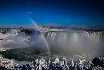 Falls Misty Rainbow  Art Print