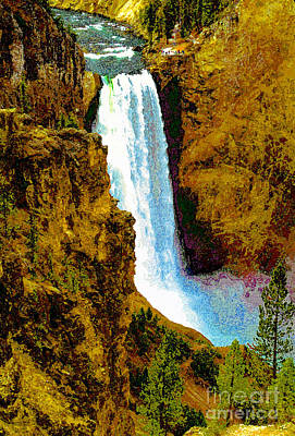 Painting - Falls Of The Yellowstone by David Lee Thompson