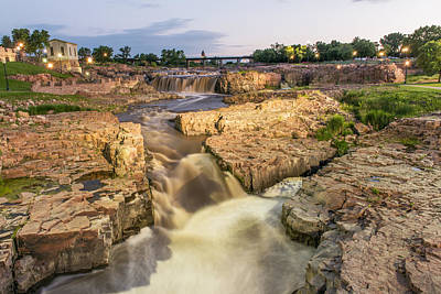 Photograph - Falls Park During Twilight After The Lights by Willie Harper