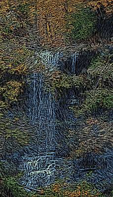 Falls Woodcut Art Print by David Lane