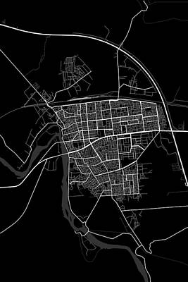 Iraq Digital Art - Falluja Iraq Dark Map by Jurq Studio
